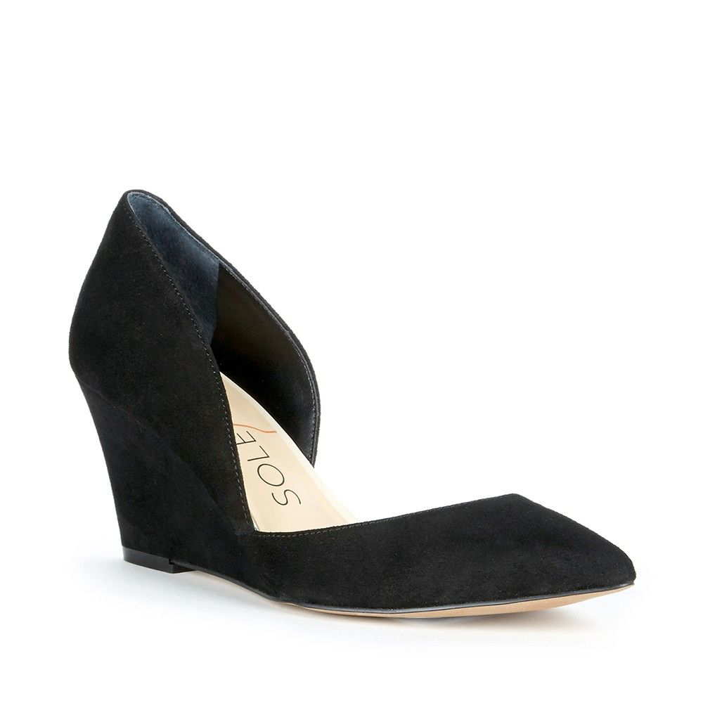 This Versatile Black Suede Wedge Would Be A Great Addition To Your Office Wardrobe