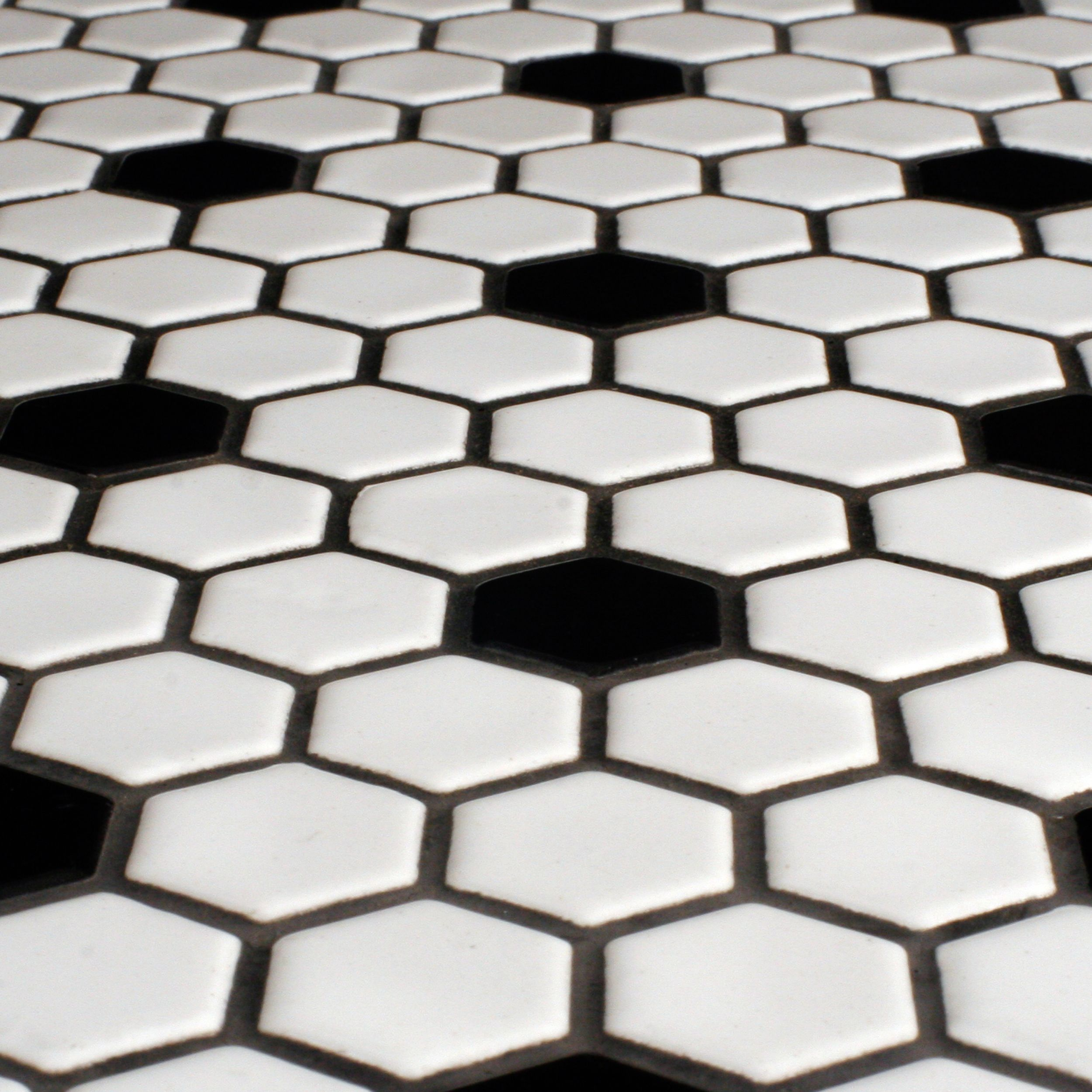 Glazed Hexagon Tile With Black Hex Accents Were Also