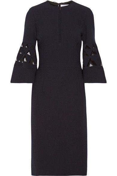 Tulle-paneled Cutout Wool-blend Dress - Midnight blue Oscar De La Renta dVeeMov6