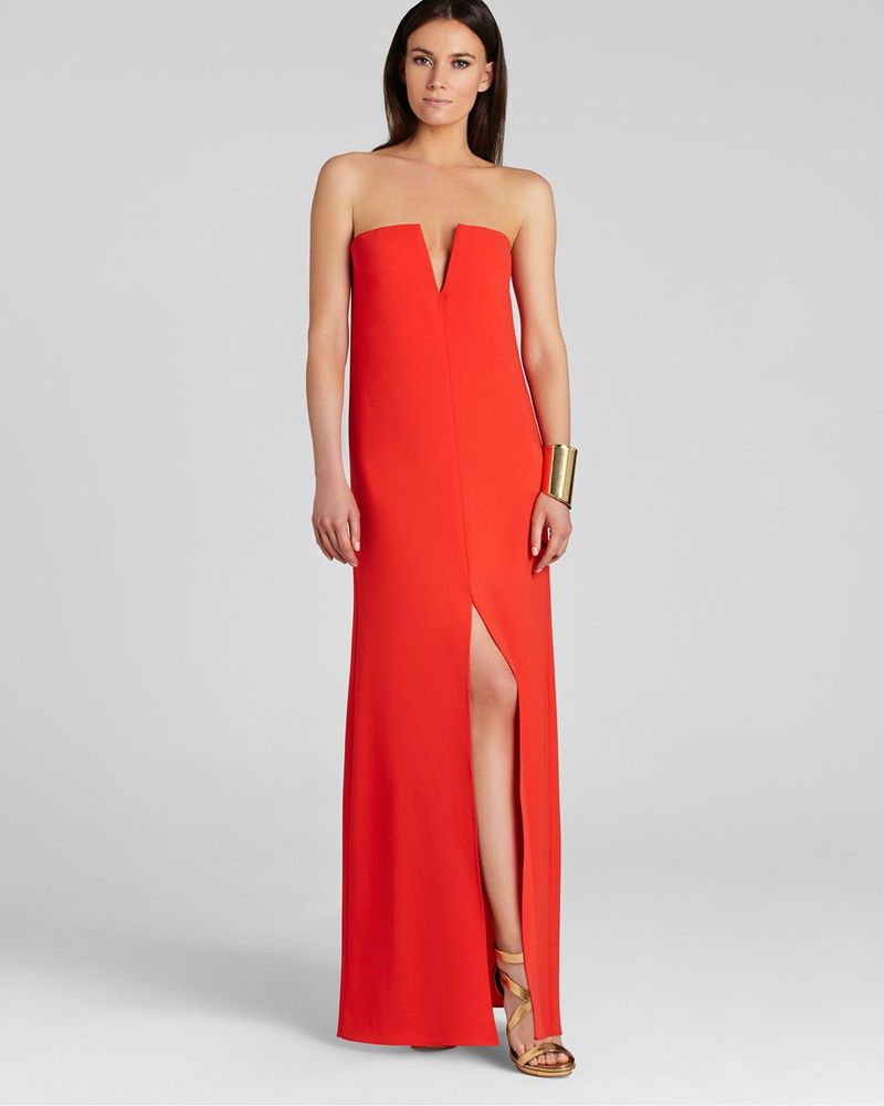 050c198fd9dc BCBG MAX AZRIA Gown, Joice Strapless Deep V in Bright Poppy Red Size: 8
