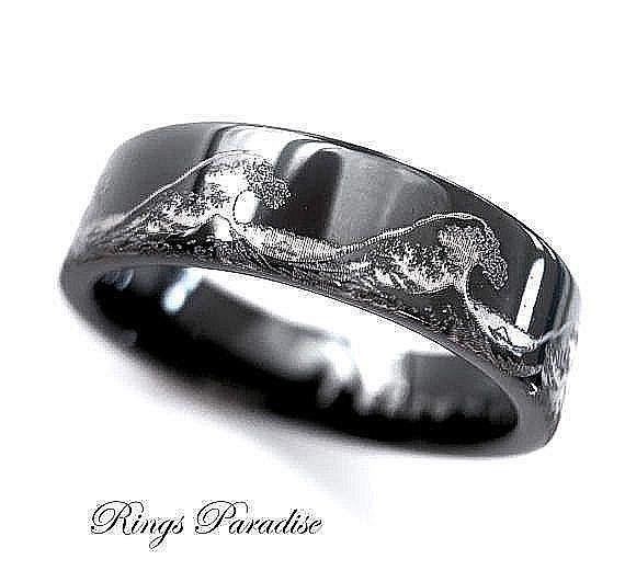 Ocean Wave Ring Black Tungsten Ring Wedding Band Mens Ring 6mm 8mm 10mm 12mm Black Tungsten Wedding Band Mens Wedding Bands Tungsten Black Rings For Men
