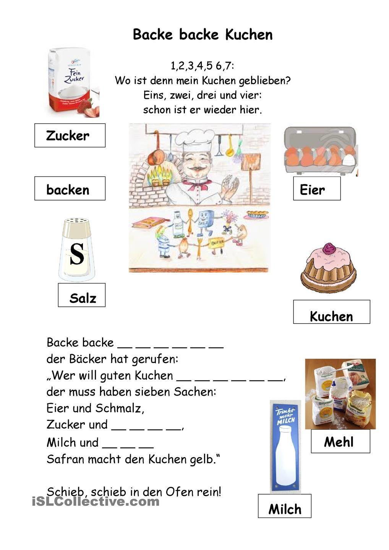 Backe backe Kuchen | deutsch | Pinterest | Arbeitsblätter ...