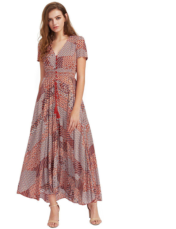 d1442ebc6f Milumia Women's Button up Split Floral Print Flowy Party Maxi Dress at Amazon  Women's Clothing store: