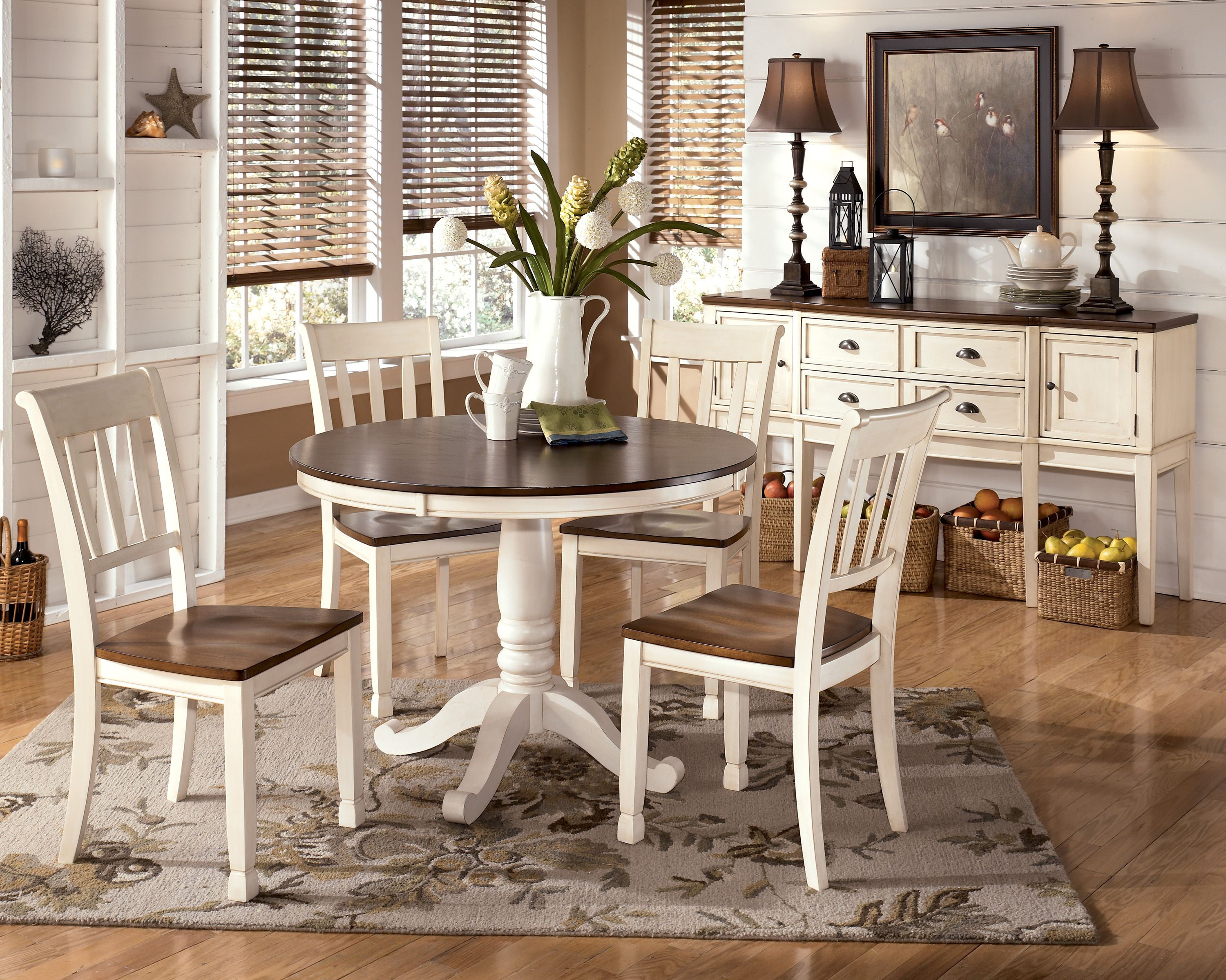 Whitesburg 5-Piece Round Dining Table Set in Brown - White | Decor ...