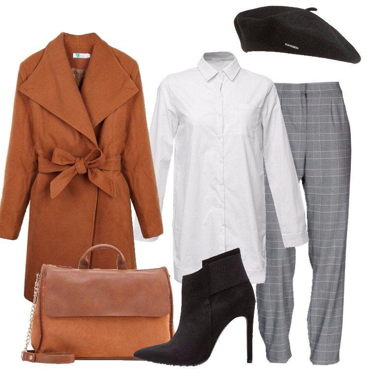 27cb695013c5f Un outfit grintoso e trendy composto da cappotto marrone con collo a  bavero