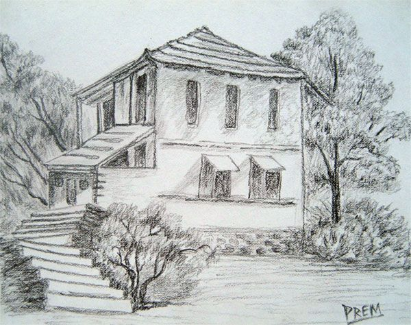 Architecture Drawing Pencil simple pencil drawings of houses | simple house & landscape sketch