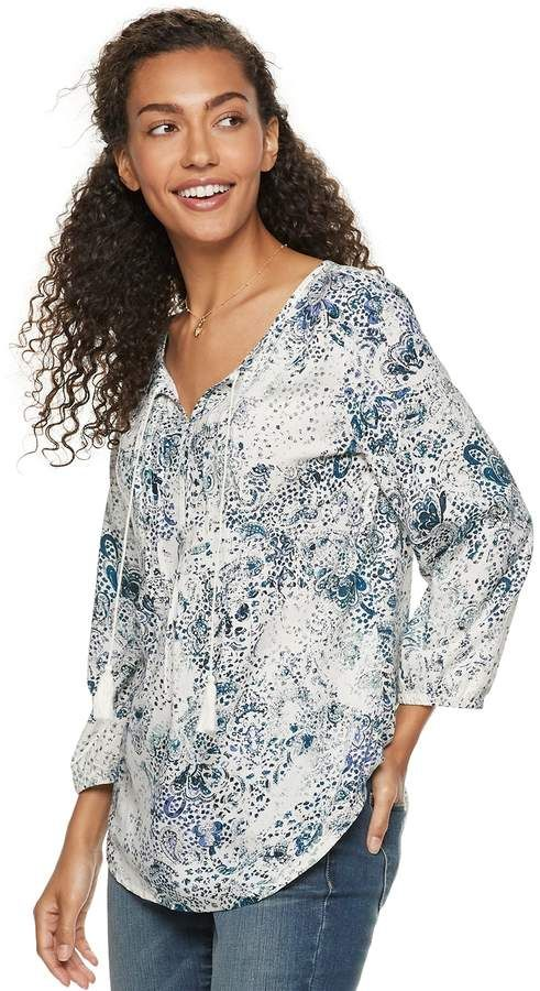 41038d1d7ca47f Sonoma Goods For Life Women's SONOMA Goods for Life Printed Pintuck Peasant  Top