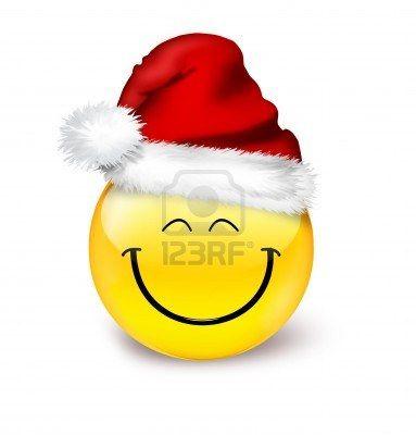 Emoticon In A Hat Santa Love Smiley Emoticon Emoji Christmas