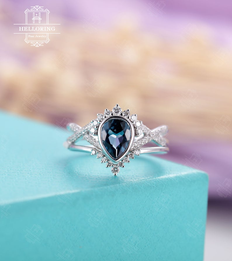 Pear Shaped London Blue Topaz Engagement Ring Set White Gold Etsy London Blue Topaz Engagement Rings Blue Topaz Engagement Ring Topaz Engagement Ring