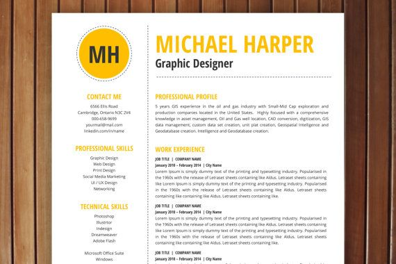 ResumeCv Template  Professional Resume Design With Free Matching
