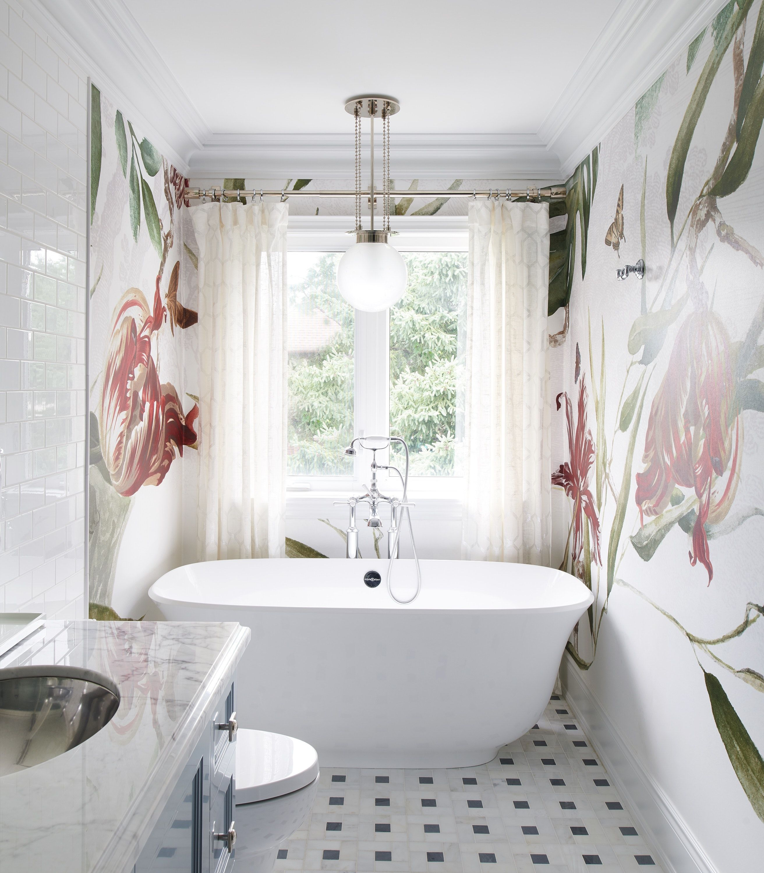 Private Residence. Whimsical Bathroom With Floral Large
