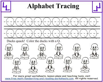 Alphabet Tracing Worksheets   Quack Quack! Color In The Ducks With A Letter  Q.