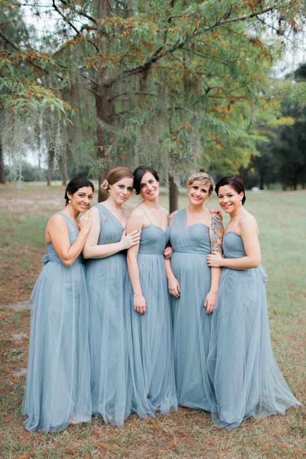 22d40da3db1 Cypress Grove Estate House wedding . dusty misty serenity slate blue .  bridesmaids Jenny Yoo - Annabelle Mayan Blue
