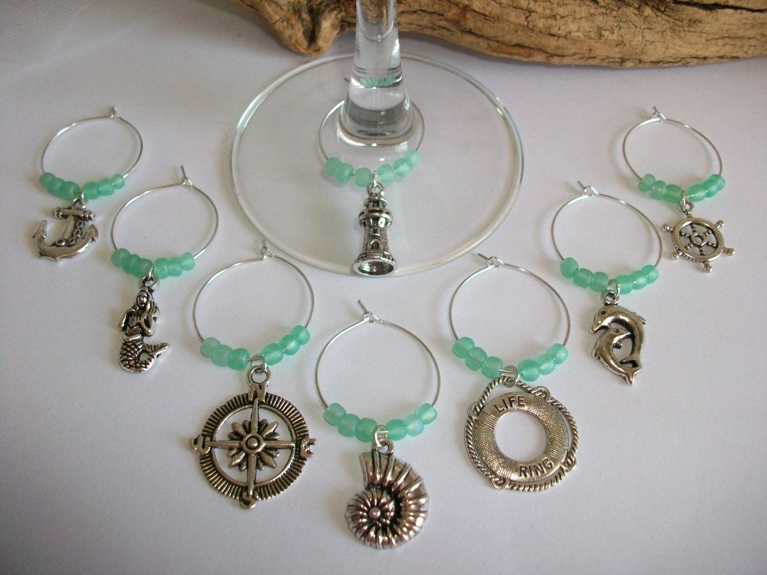 Nautical Beach Theme Seafoam or Aqua Wine Glass Charms Markers ...