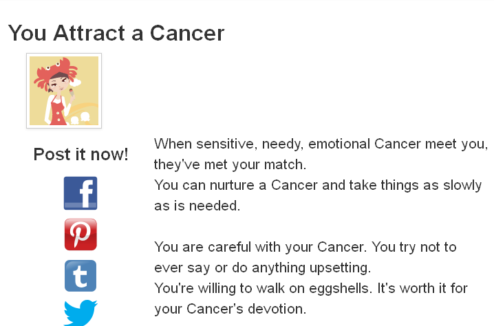 This is one of the results from the quiz, What Sign Do You Attract? http://www.blogthings.com/whatsigndoyouattractquiz/