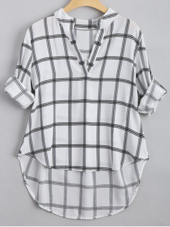 3c62f12fcaf4 V Neck Checked High Low Blouse. zaful