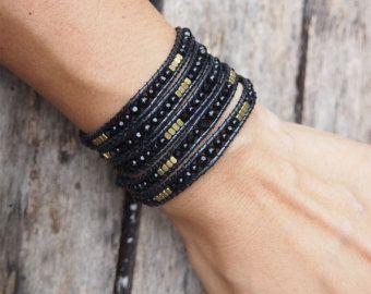 Photo of 5 times Wrap Bracelet, White Crystal beaded mix, Boho bracelet, Bohemian bracelet, Beadwork bracelet