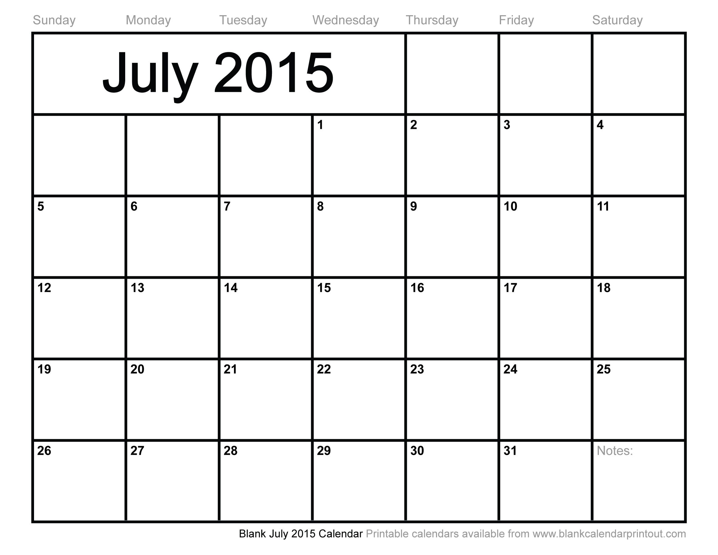 monthly calendar july 2015 Google Search Birds