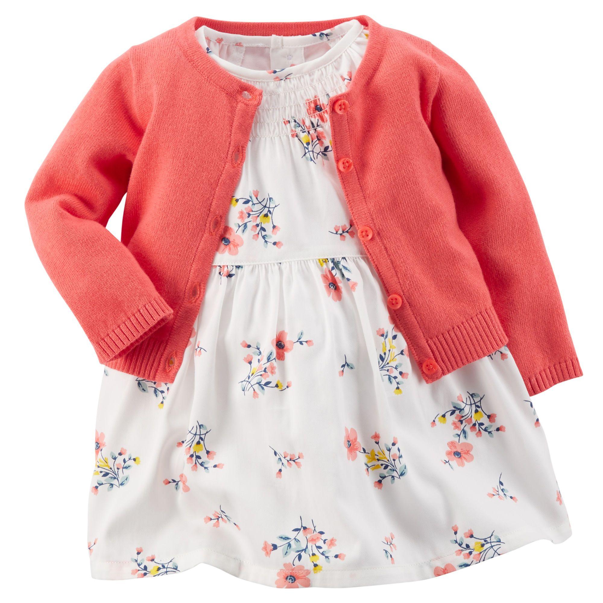 Baby Girl 2 Piece Smocked Dress & Sweater Set Carters