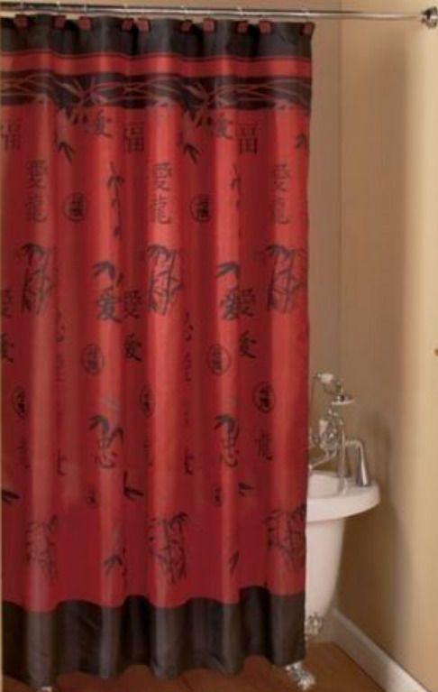 Asian Bamboo Oriental Red Black Fabric Shower Curtain Popular Bath