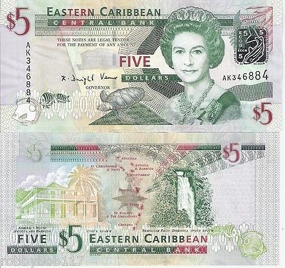 East Caribbean States 5 Banknote World Unc Currency Money Bill Note