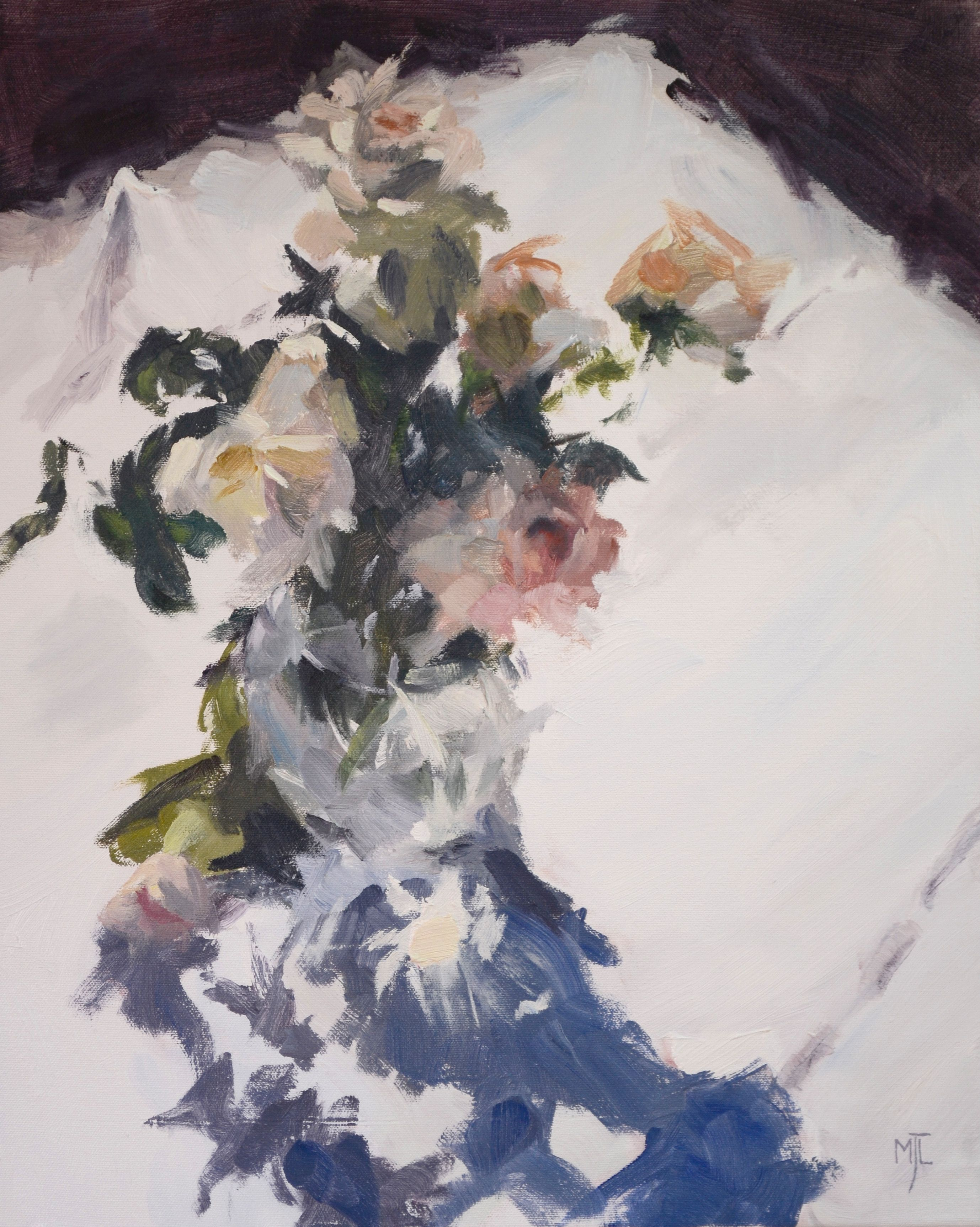 Flowers on White Tablecloth, oil on canvas,  50x40cm, 20x16in