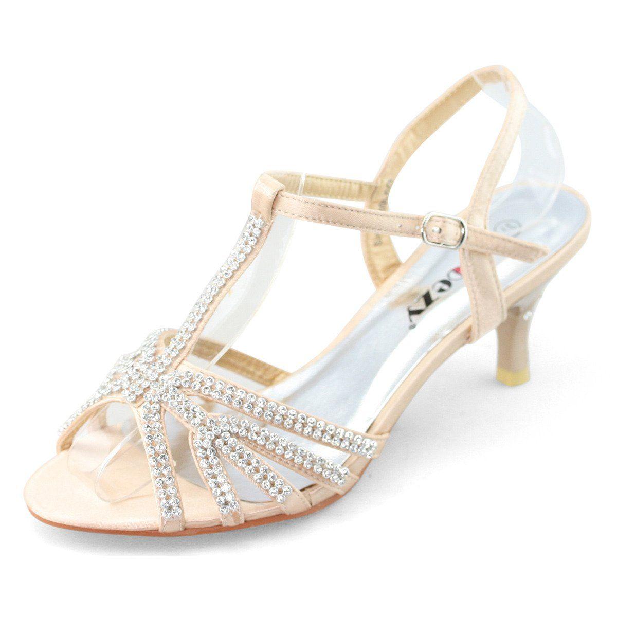 SHOEZY Women Ladies Low Heel Diamante Wedding Shoes T Bar Strappy Sandal Gold Size US 9