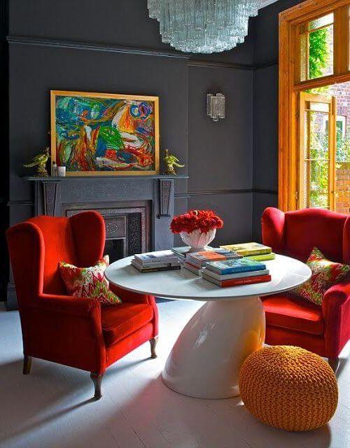 rote-wand-richtig-streichen-highlight-www-decohome-de - wohnzimmer orange streichen