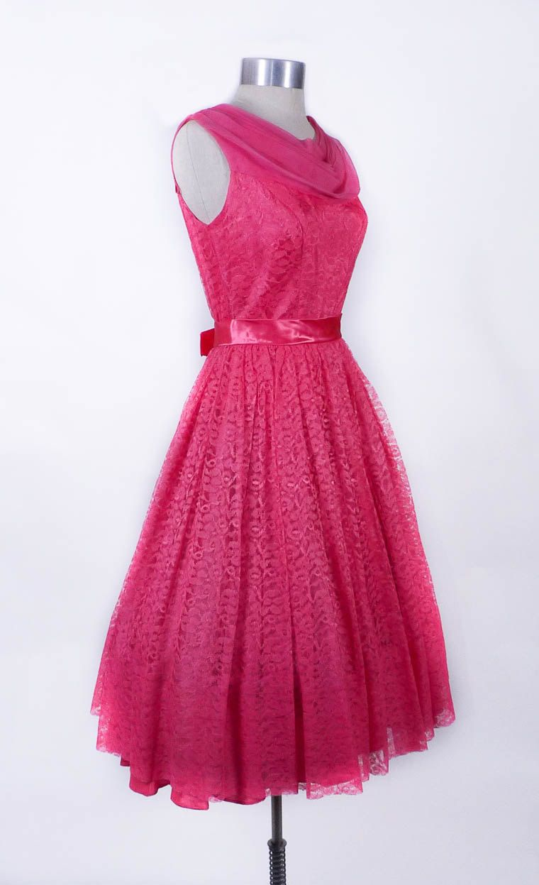 548b1fbe61 PRICE CUT  Vintage 1950s Dress - The Lavish Lace Hot Pink Prom Party Gown -  sz S.  140.00