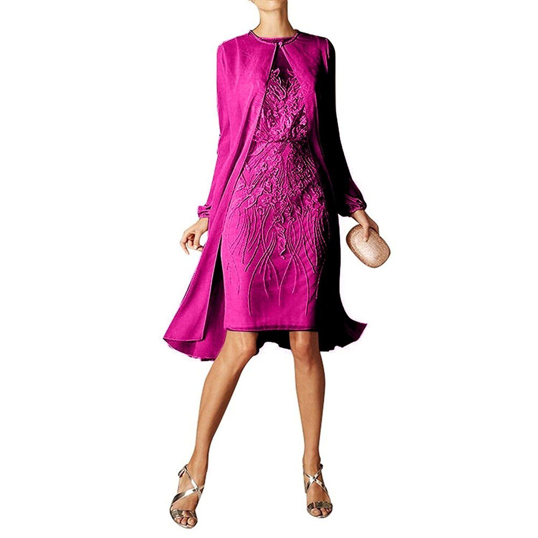 Charmant Damen Pink Spitze Chiffon Bolero Abendkleider Knie-lang ...