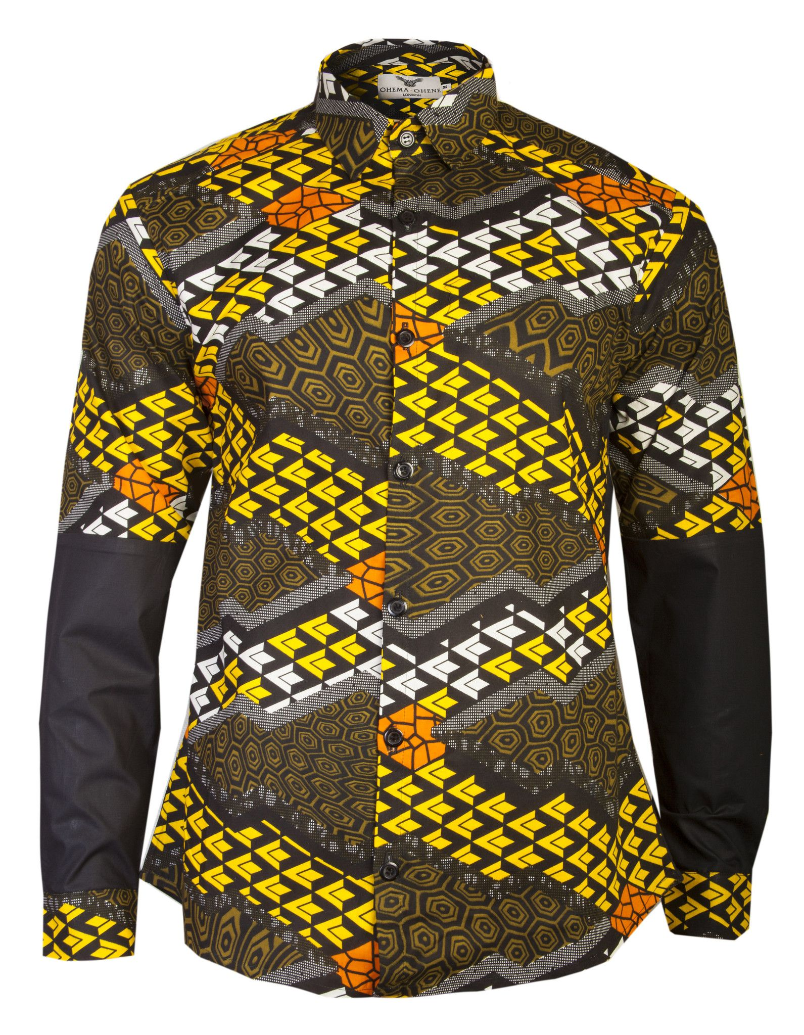 Mens Black Yellow African Print Shirt Ohema Ohene Male Naija