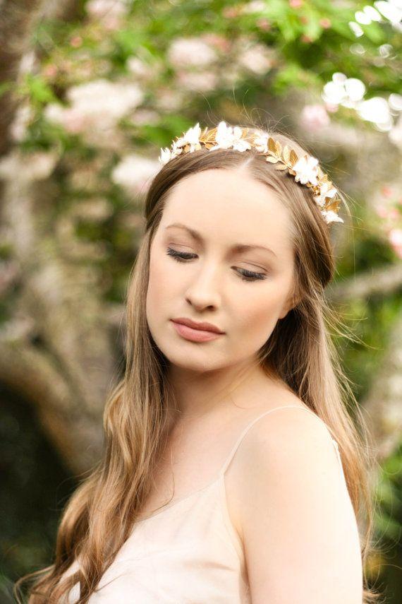 Greek Goddess Flower Crown Laurel Leaf headpiece vintage style tiara gold  bridal headpiece leaf headband vintage f7eaaf4e339