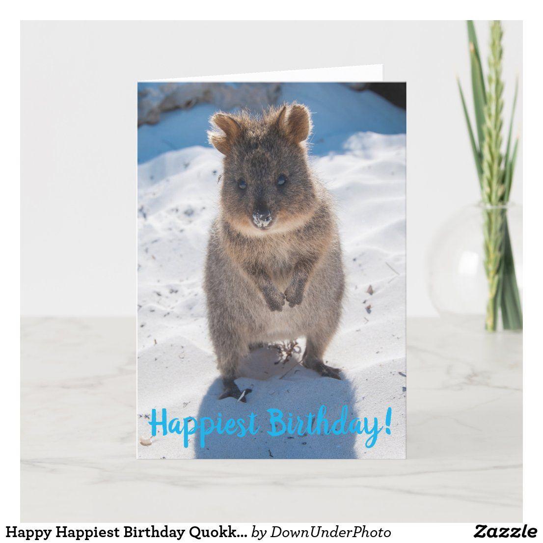 Happy Happiest Birthday Quokka Card | Zazzle.com | Happy animals, Quokka,  Beach cards
