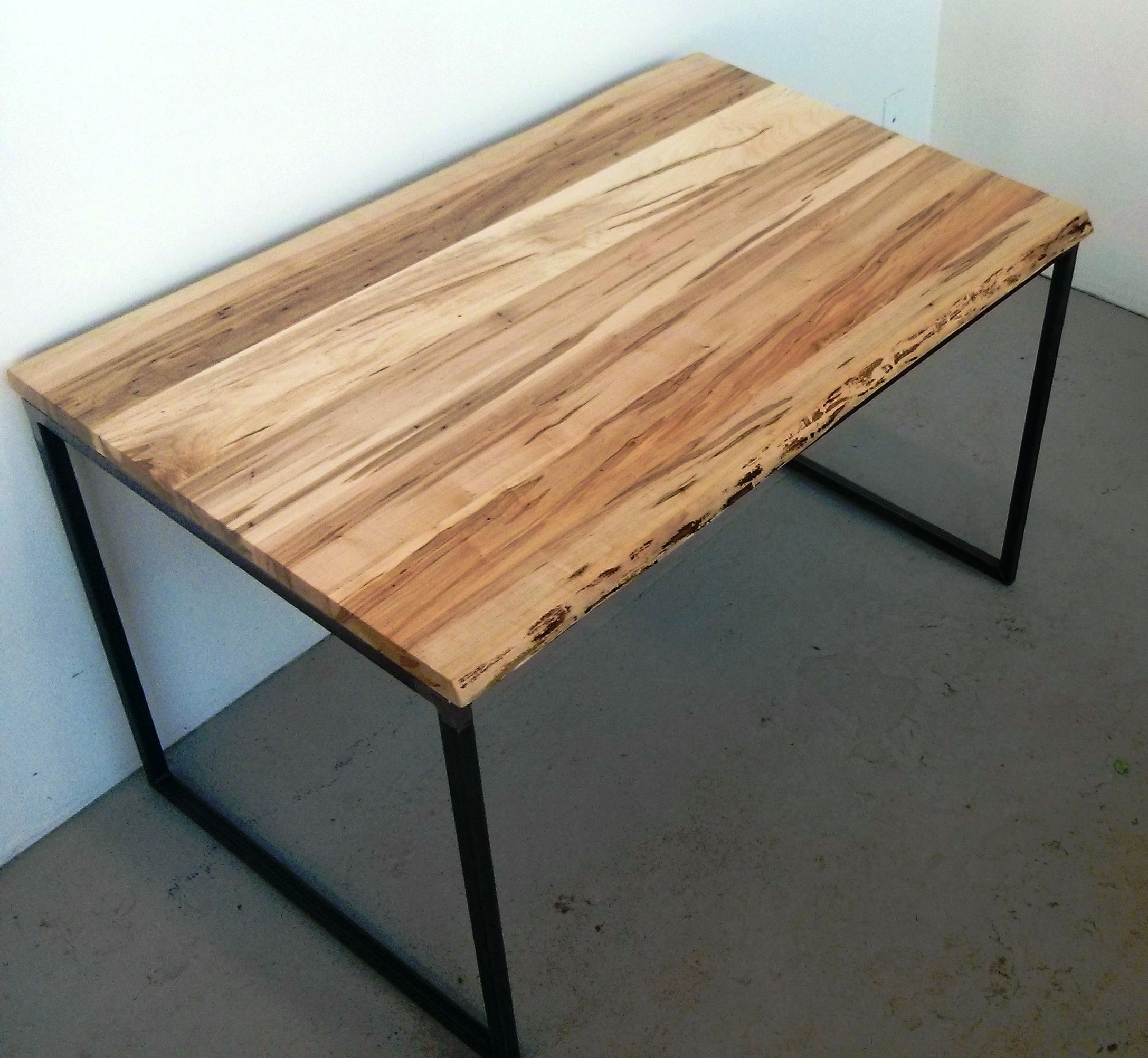 Attractive Live Edge Wormy Maple Condo Size Dining Table By Barnboardstore.com We Used  Raw Steel