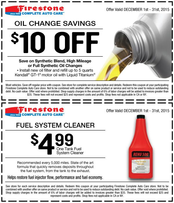 Firestone 10 Off Any Oil Change Coupon December 2016 Oil Change