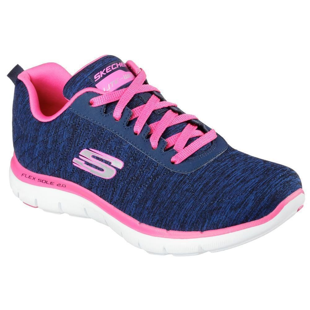 Skechers Sport Women's Flex Appeal 2.0 Sneaker, Navy/Pink
