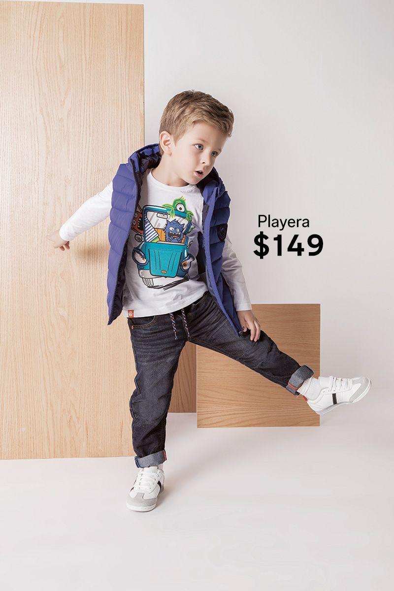 Tu niño se sentirá increíble con este look urbano. Chaleco -  349 Playera -   149 Jeans -  349 0d2a1578284d