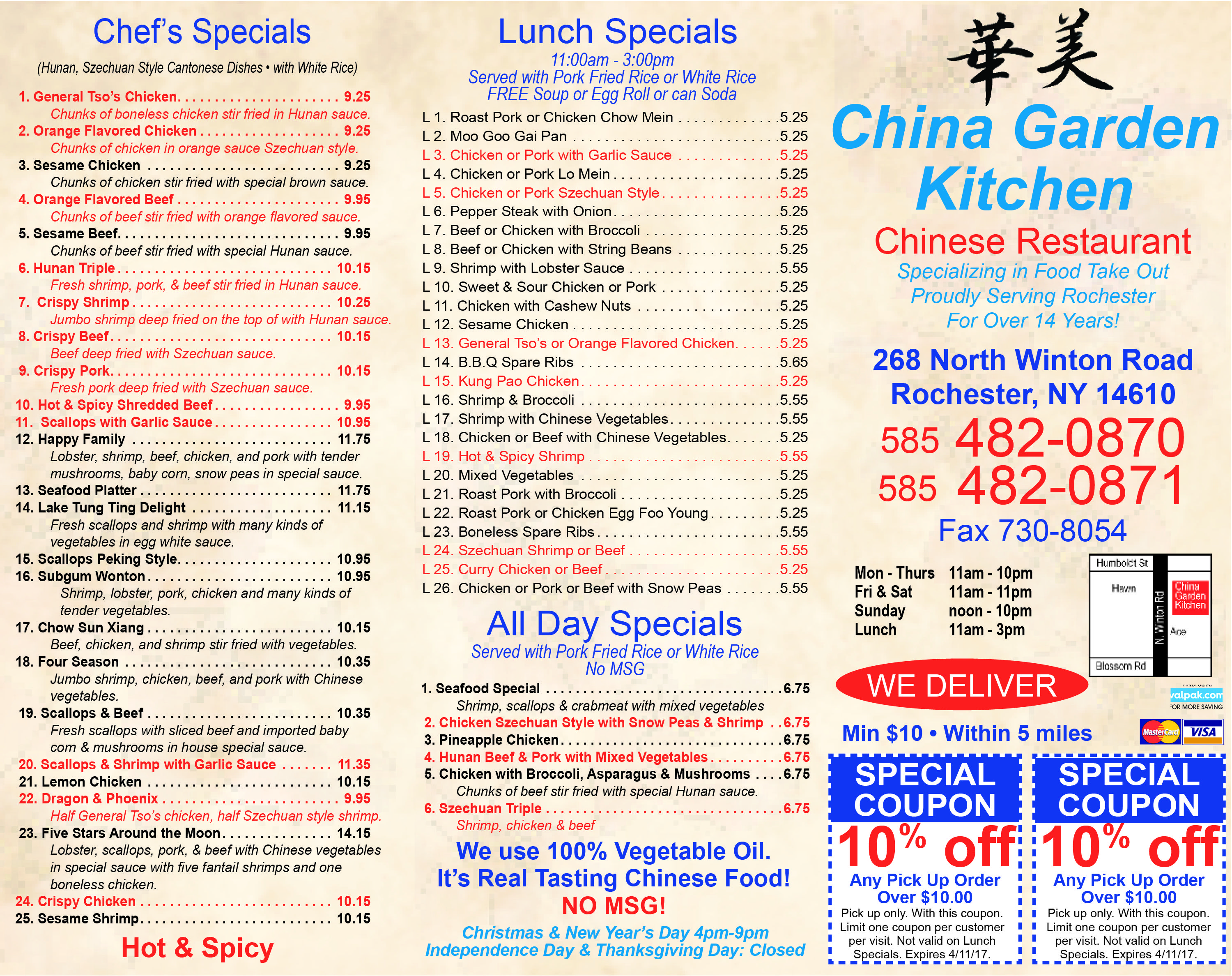 Come pick up a chef special lunch special or even an all