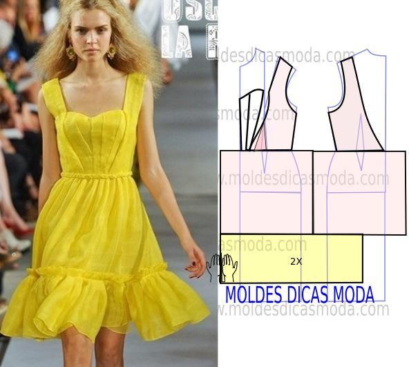 Este molde vestido amarelo requer algum trabalho porque tem nos pormenores algum grau de dificuldade para quem tem pouca experiência. Por essa razão faça e
