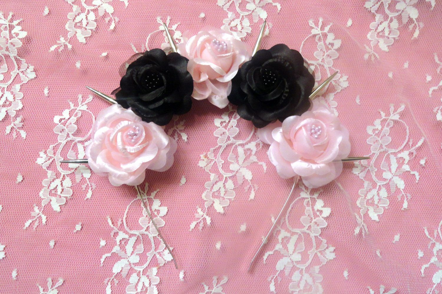 Odette Silk Pink And Black Pastel Goth Roses Flower Crown With