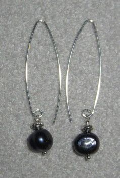 Fresh water pearls on long silver ear wires