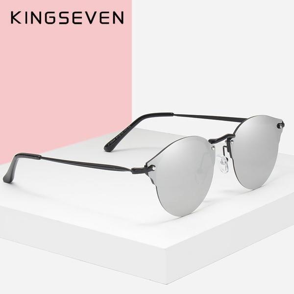 950ebf22918  Fashion  BestPrice KINGSEVEN Men Women Retro Rivet Polarized Sunglasses  Unisex Half Frame N7948