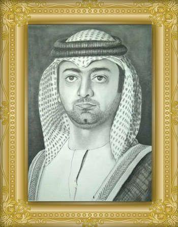 Pencil portrait of sheikh ammar bin humaid by sheikh saifi 971551218154 sketching