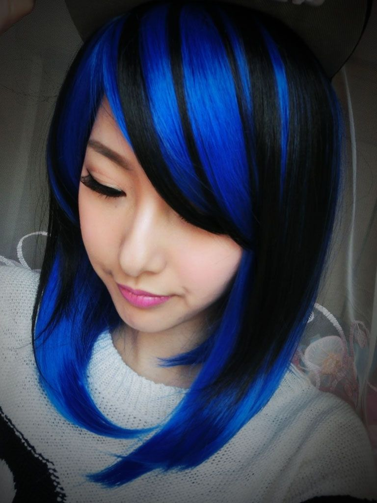 Pics Of Blue Black Hair With Light Blue Streaks Light Blue