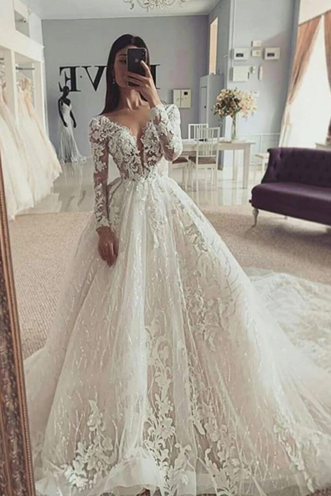 Puffy V Neck Long Sleeves Wedding Dress