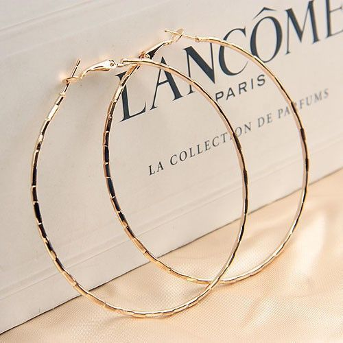 Simple Gold Plated Hoop Earring For Women Statement Fashion Jewelry Accessories Large Circle Round Loop