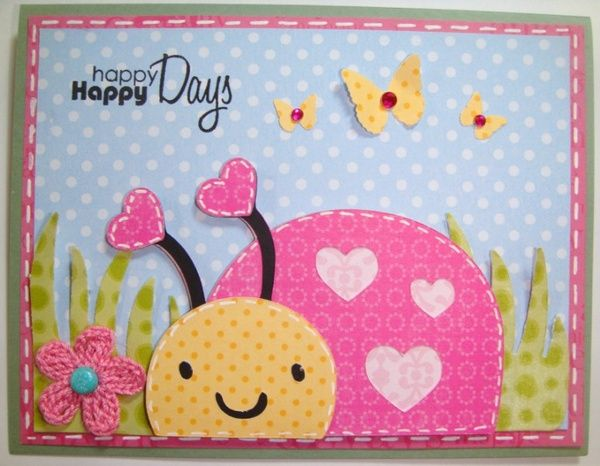 Cute card using Create a Critter Cricut cartridge