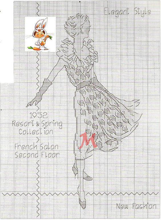 0 point de croix  femme robe 1952 - cross stitch dress 1952 lady