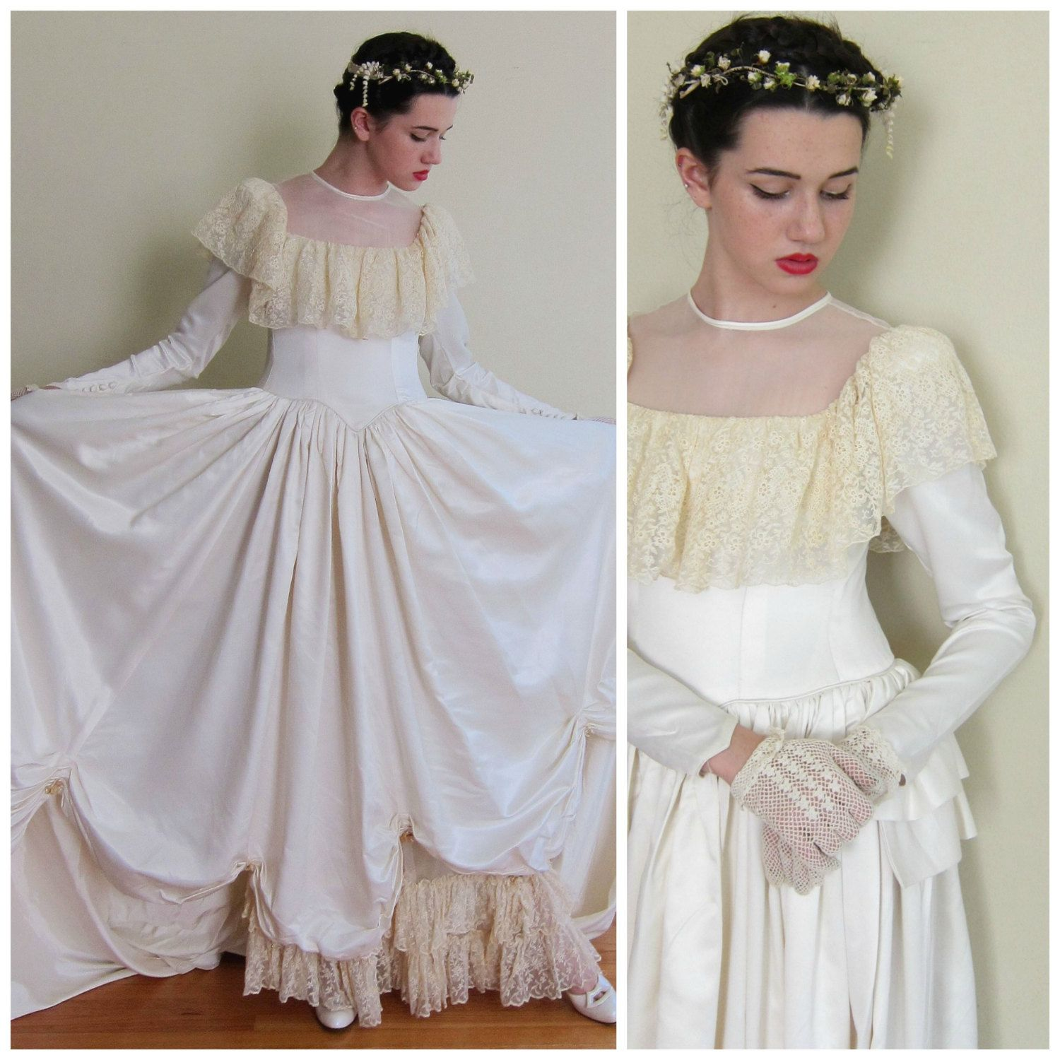 Vintage 1940s Long Sleeved Wedding Dress with Crochet Lace