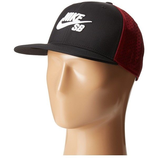 the best attitude 7c4b9 b2d46 Nike SB Performance Trucker Hat (Black Team Red Black White) Caps ( 30) ❤  liked on Polyvore featuring men s fashion, men s accessories, men s hats,  mens ...